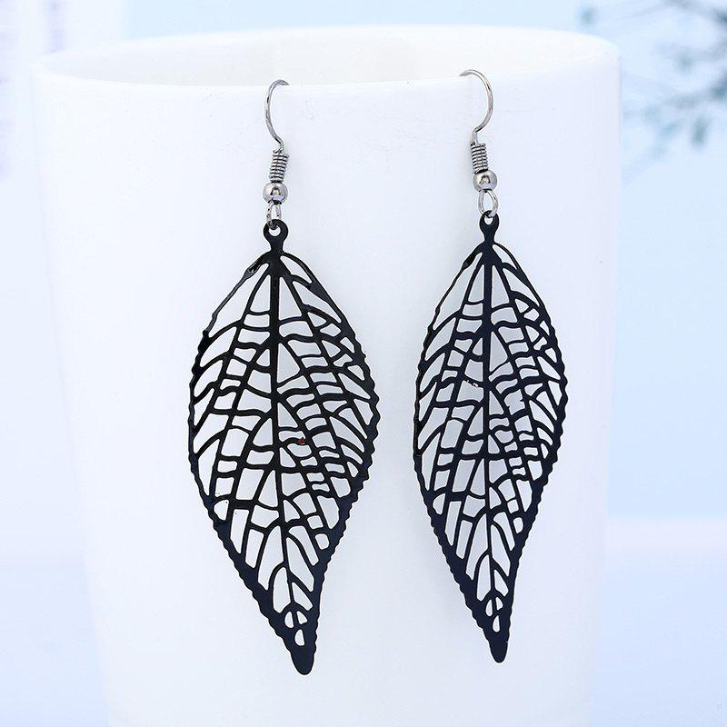 Leaf Shape Hollow Design Hook Earrings - BLACK