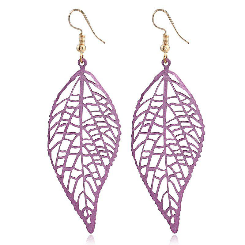 Leaf Shape Hollow Design Hook Earrings - LIGHT PURPLE