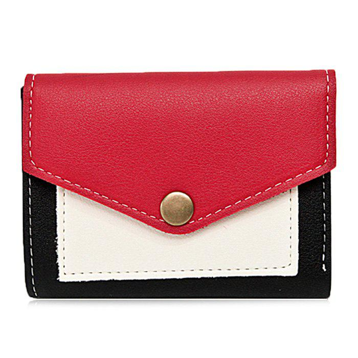 Bi Fold Contrasting Color Wallet - RED