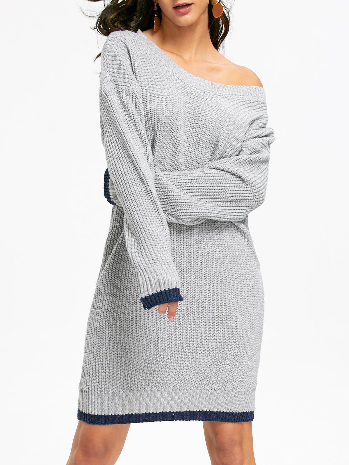 купить Drop Shoulder Chunky Sweater Dress дешево
