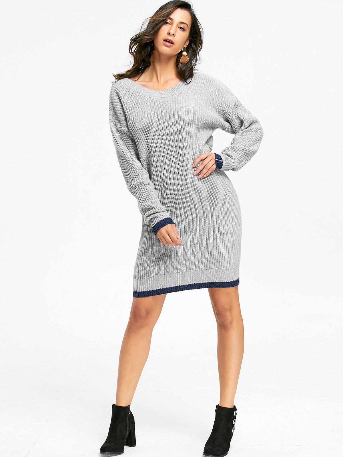 Drop Shoulder Chunky Sweater Dress - GRAY ONE SIZE