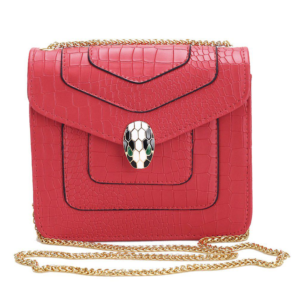 Chain Geometric Faux Leather Crossbody Bag - RED