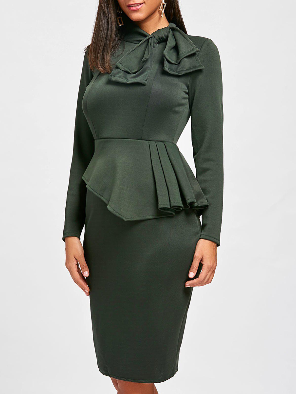Bowknot Long Sleeve Peplum Bodycon Dress - Vert L