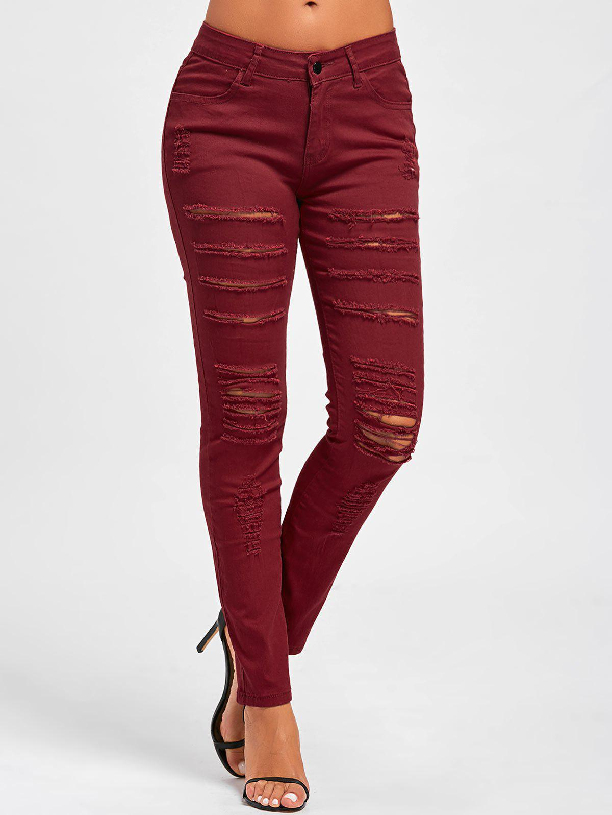 Distressed High Rise Skinny Colored Jeans - RED L