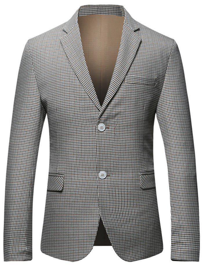 Flap Pocket Single Breasted Check Blazer - Carré 3XL