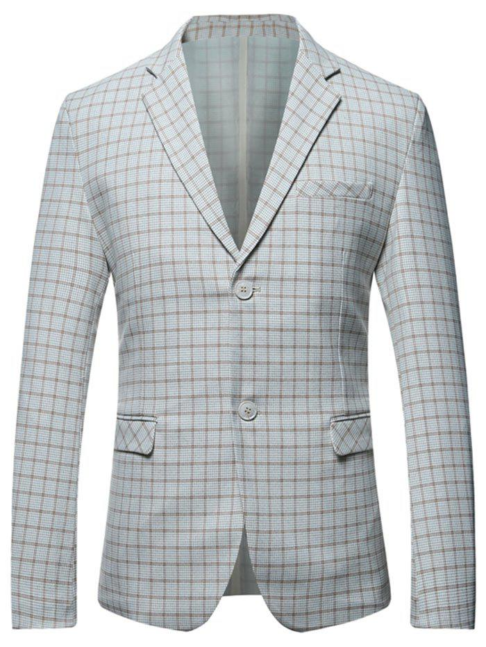 Casual Flap Pocket Lapel Checked Blazer - GRAY M
