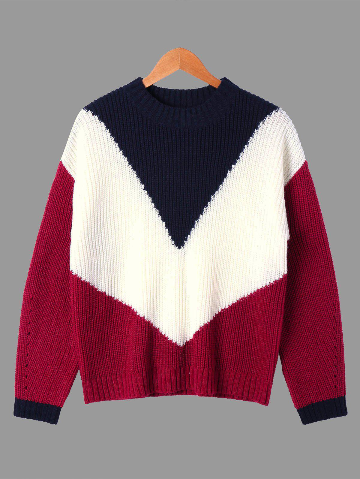 Ribbed Color Block Crew Neck Sweater ribbed color block sweater