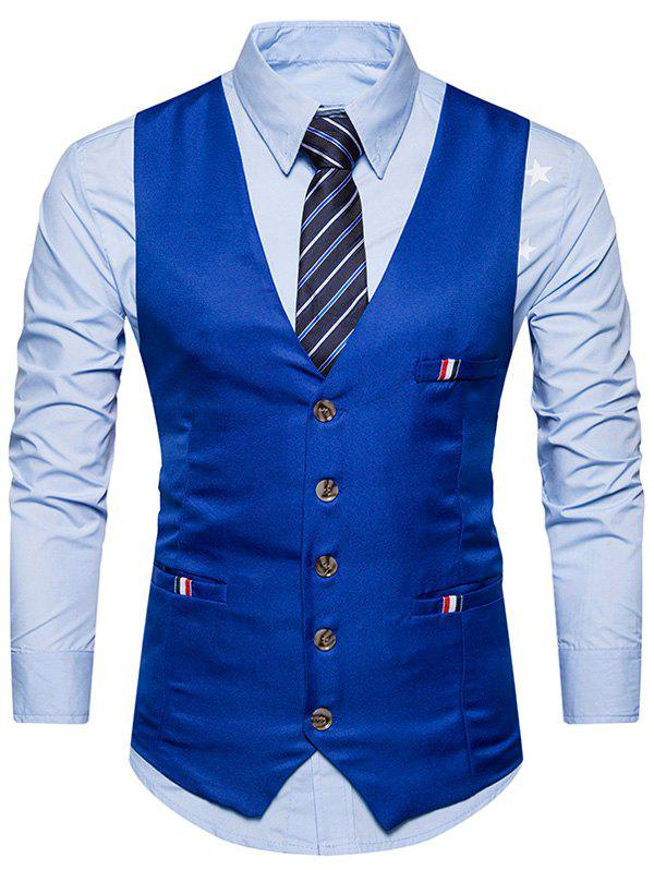 Single Breasted Braid Embellished Waistcoat - ROYAL L
