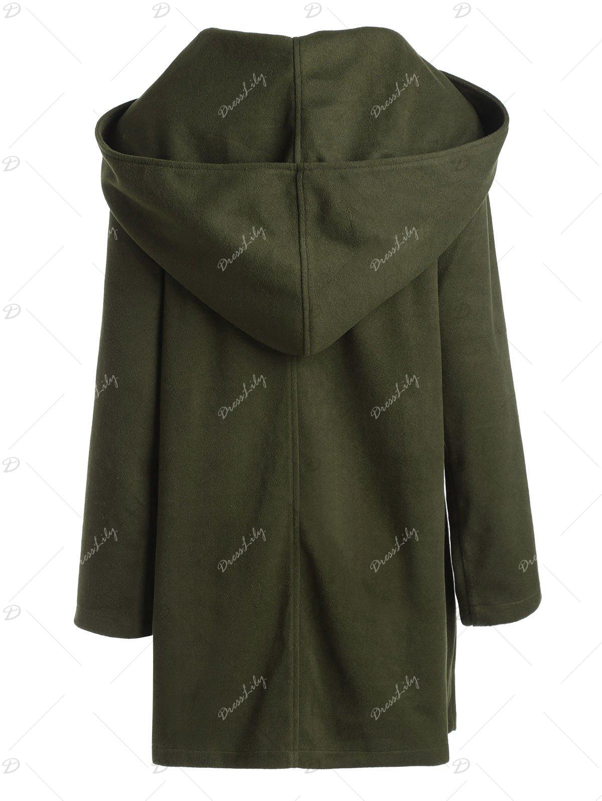 Plus Size Hooded Wool Blend Front Slit Coat - ARMY GREEN 5XL