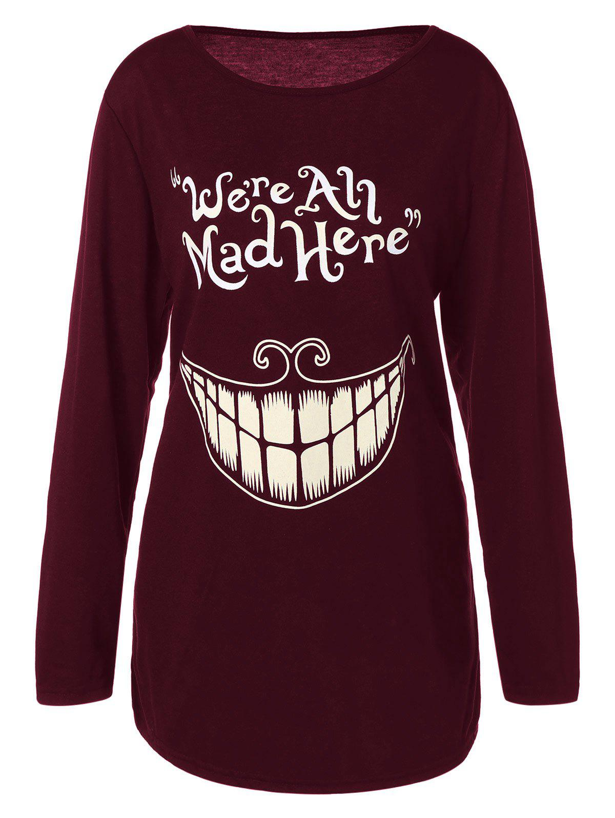 Plus Size Teeth and Letter Print T-shirt plus size letter print hooded sweatshirt dress