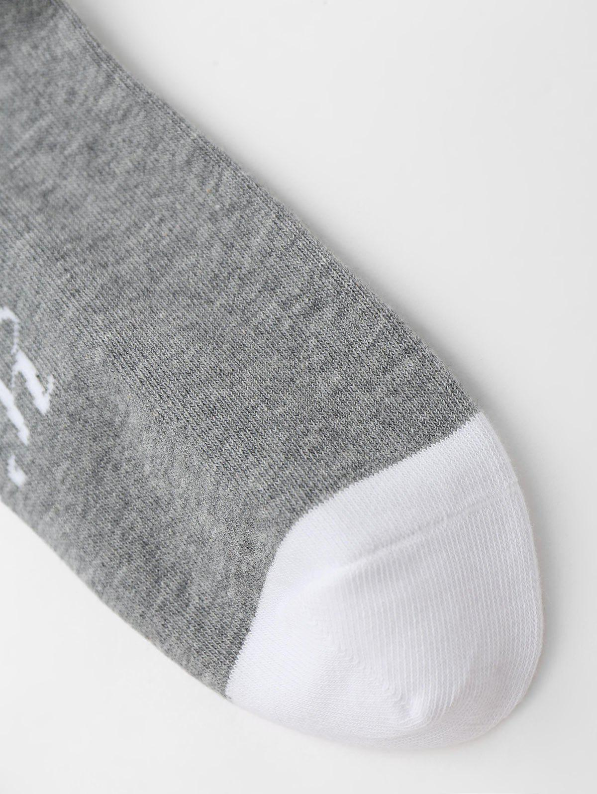 Graphic Pattern Crew Socks - GRAY ONE SIZE