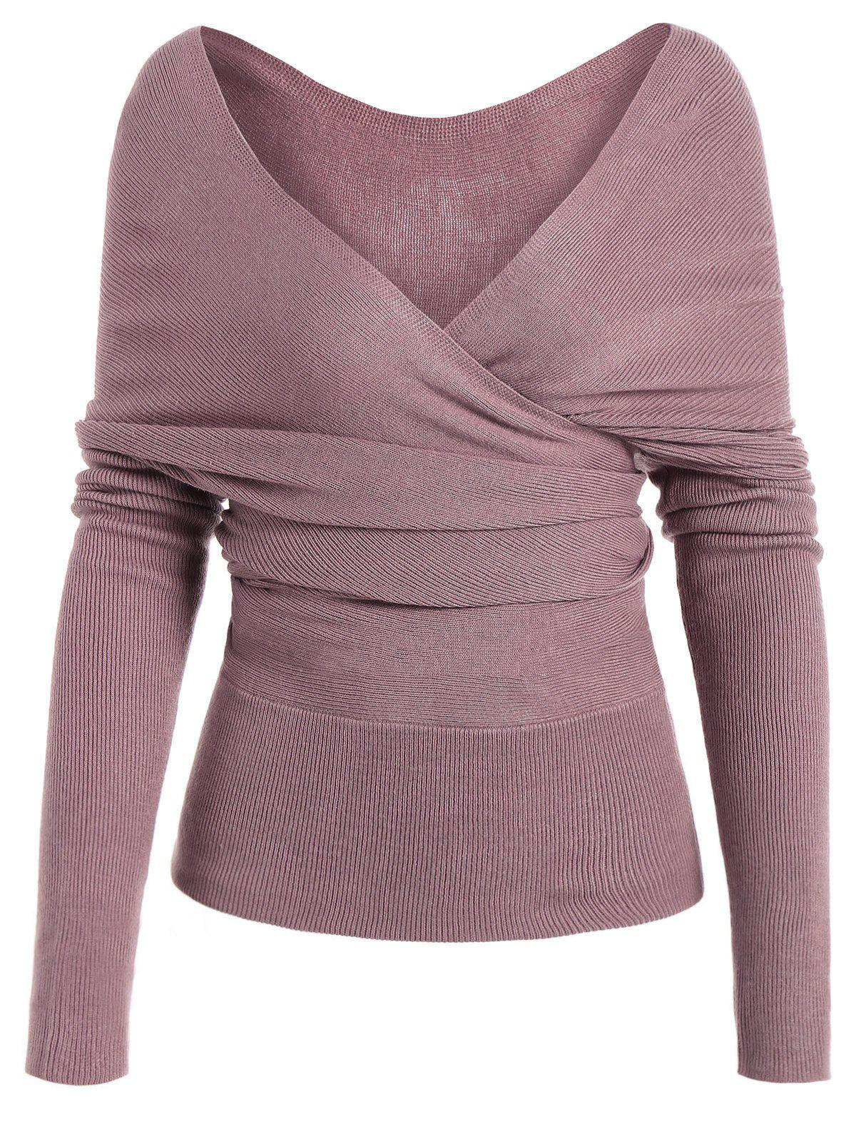 Low Cut Surplice Knitted Top - PINKISH PURPLE S