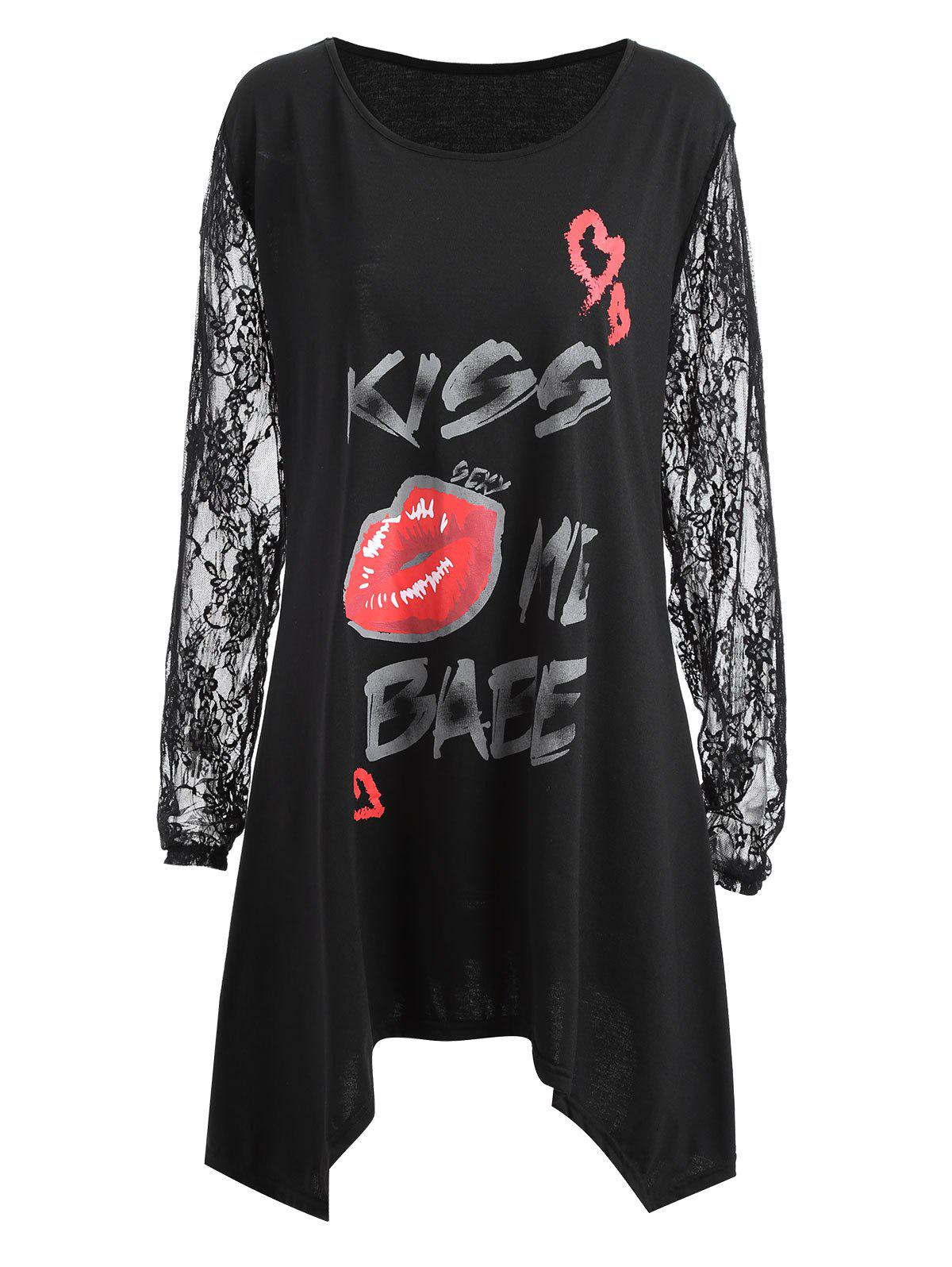 Plus Size Lace Sleeve Kiss Me Baby Lips T-shirt - BLACK 2XL