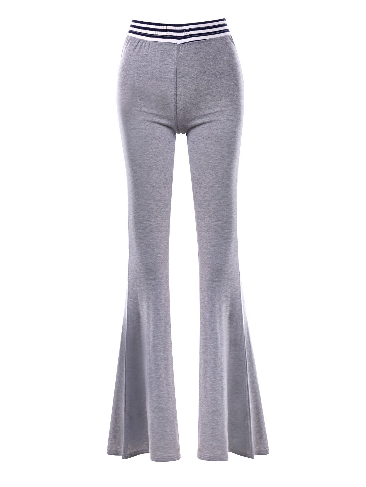 Striped Insert Maxi Flare Pants - GRAY L
