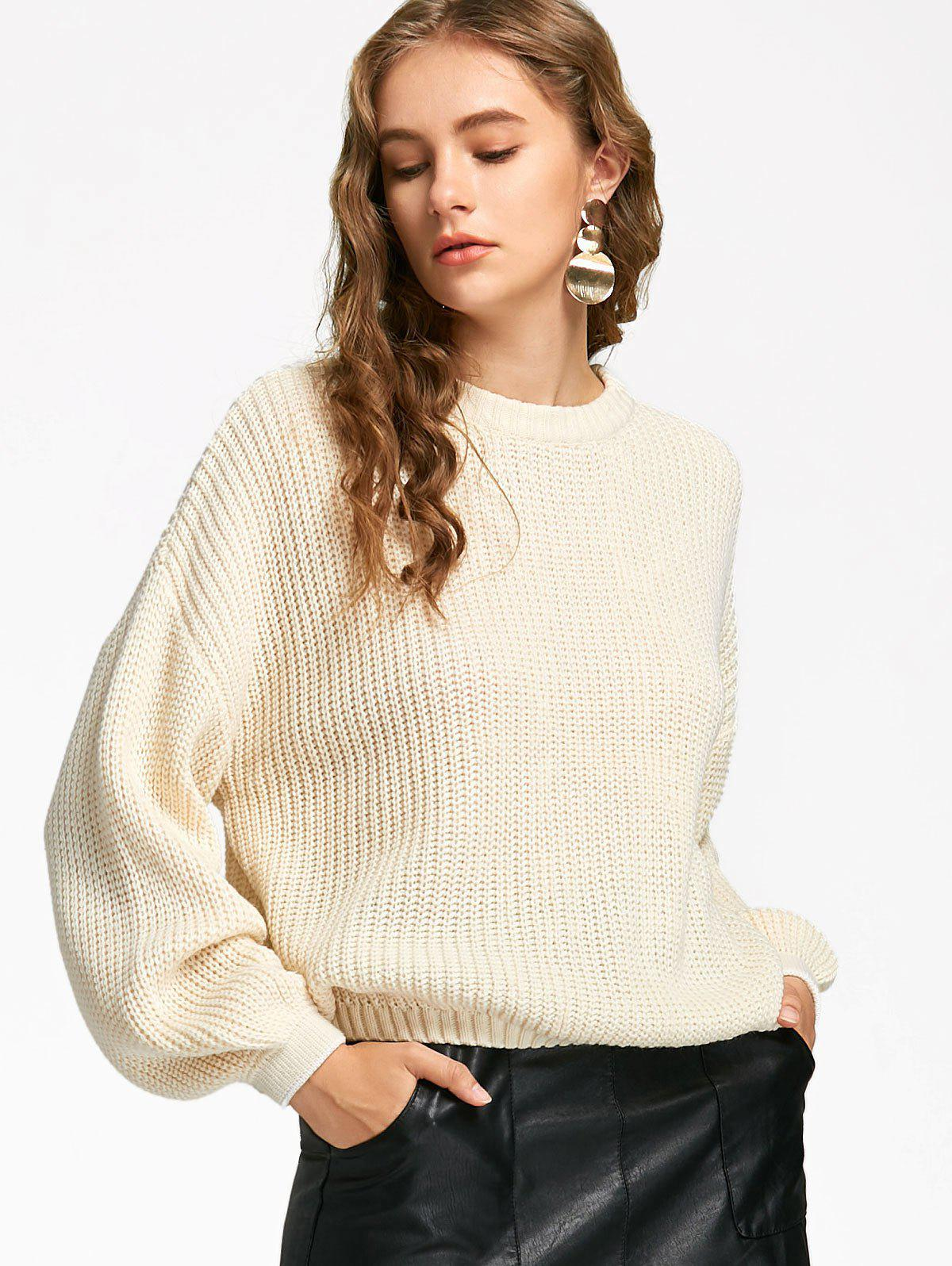 2018 Lantern Sleeve Oversized Sweater OFF WHITE ONE SIZE In ...