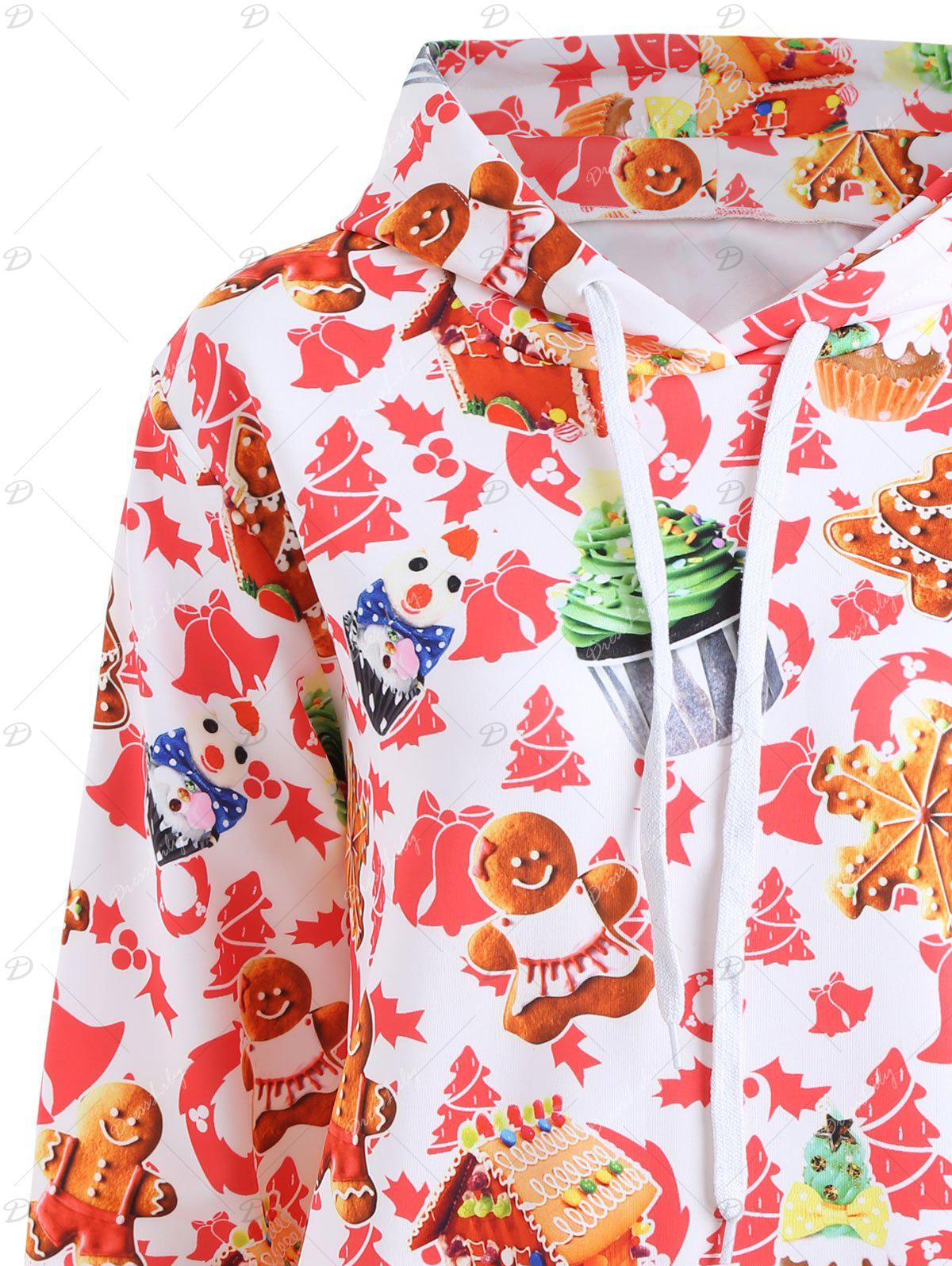 Christmas Baked Cake Kangaroo Pocket Hoodie - WHITE 2XL