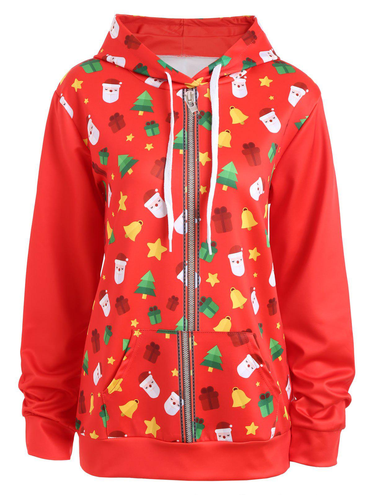 Christmas Bells Tree Santa Claus Zip Up Hoodie - RED M