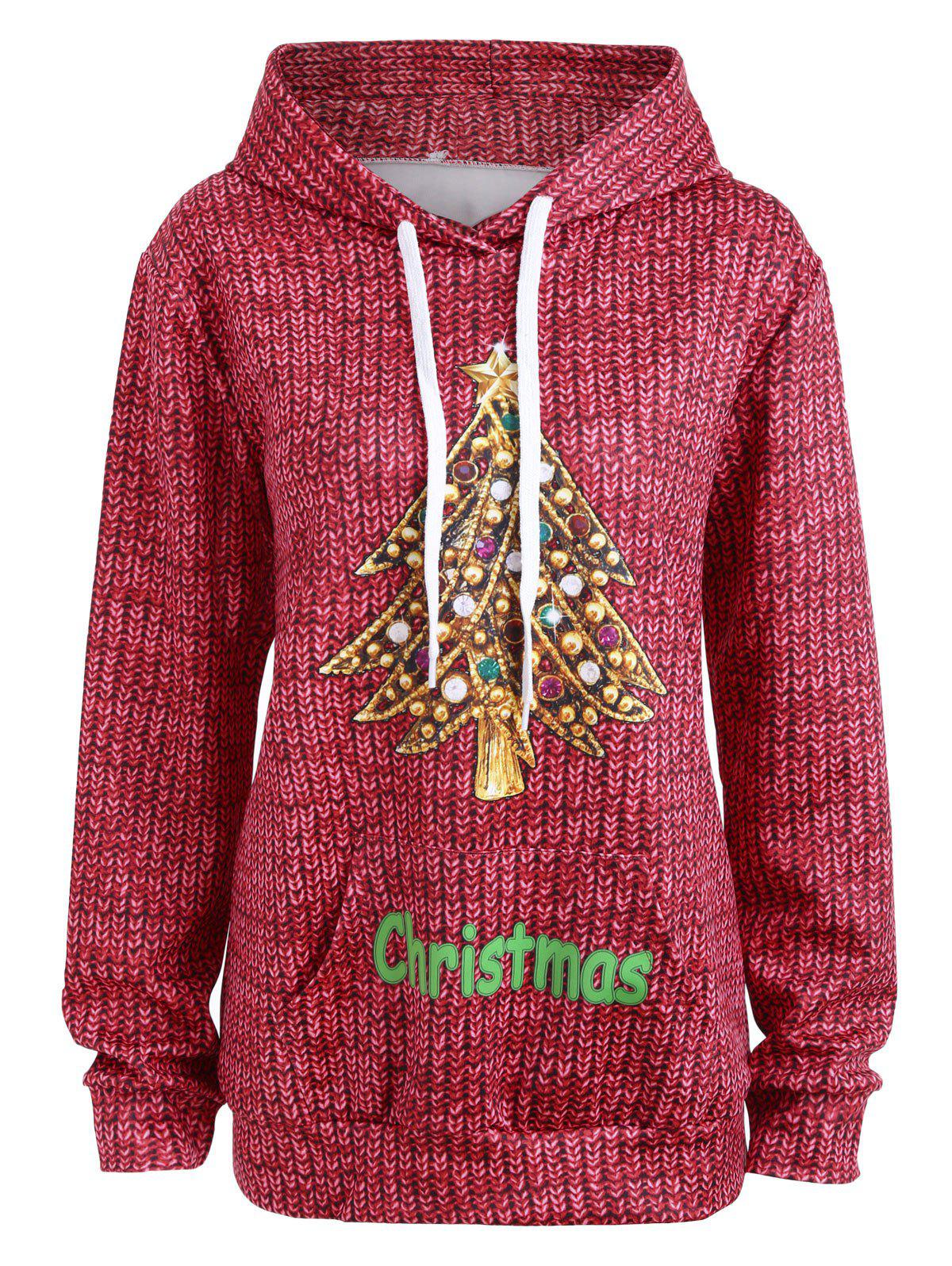 Kangaroo Pocket Rhinestone Christmas Tree Hoodie - RED 2XL
