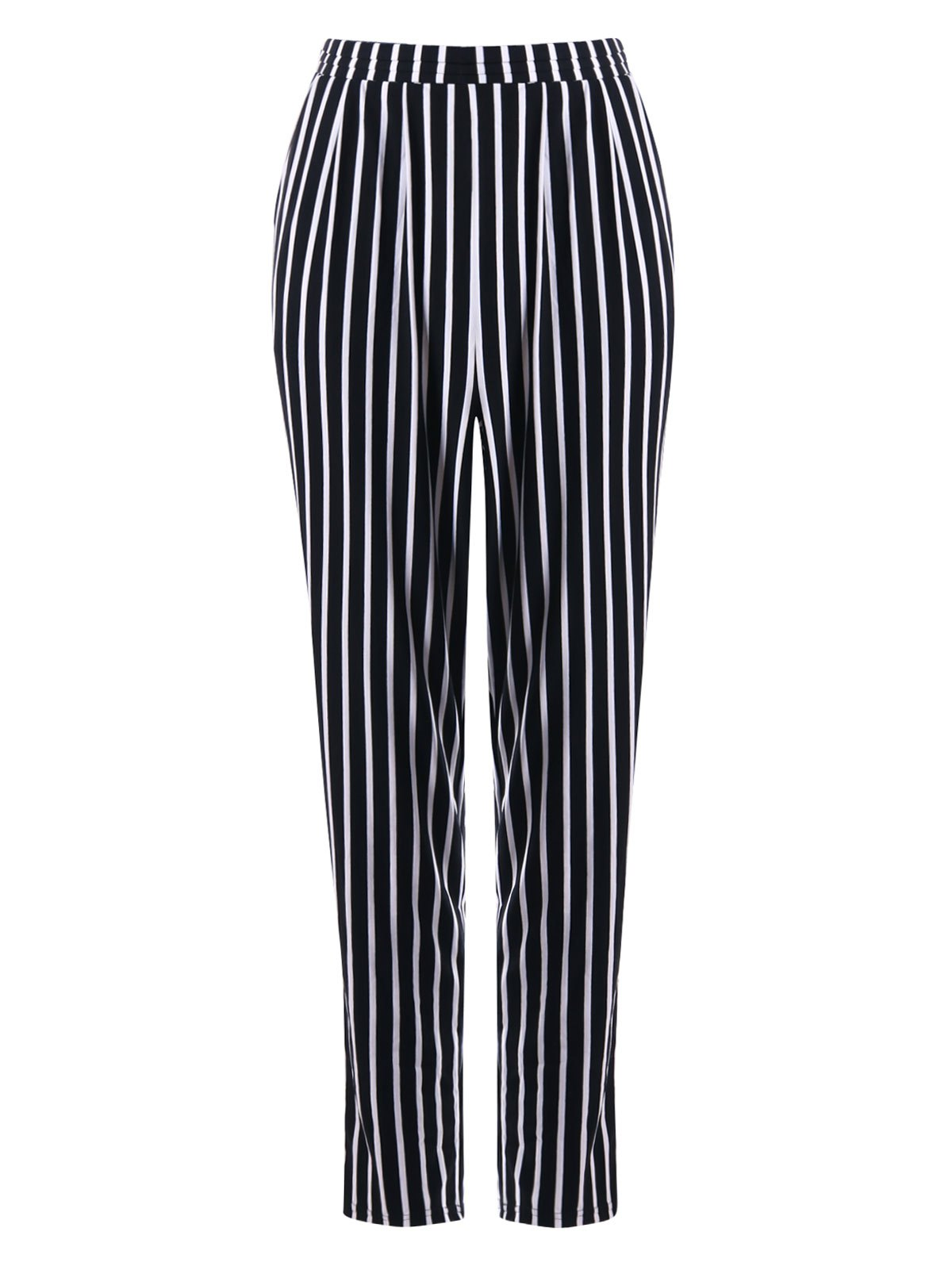 Casual Striped Tapered Pants - BLACK STRIPE M