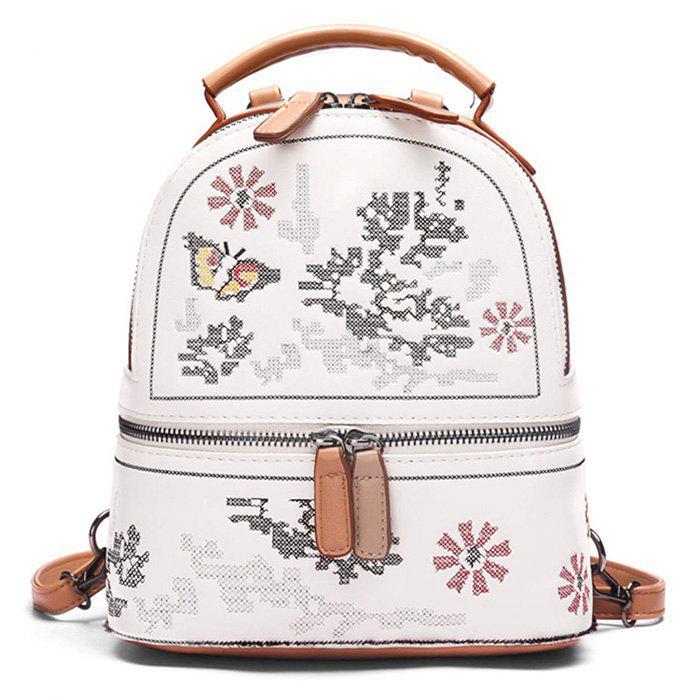 Flower Butterfly Patchwork Backpack - BROWN