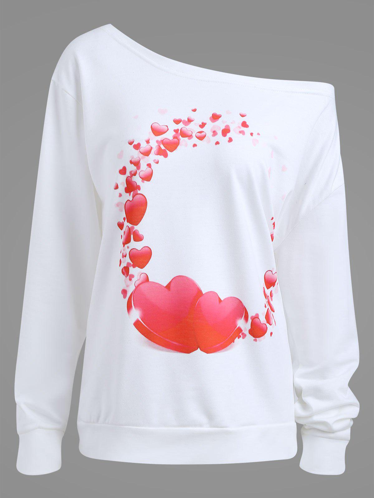 Plus Size Heart Hoop Graphic Sweatshirt - WHITE 2XL