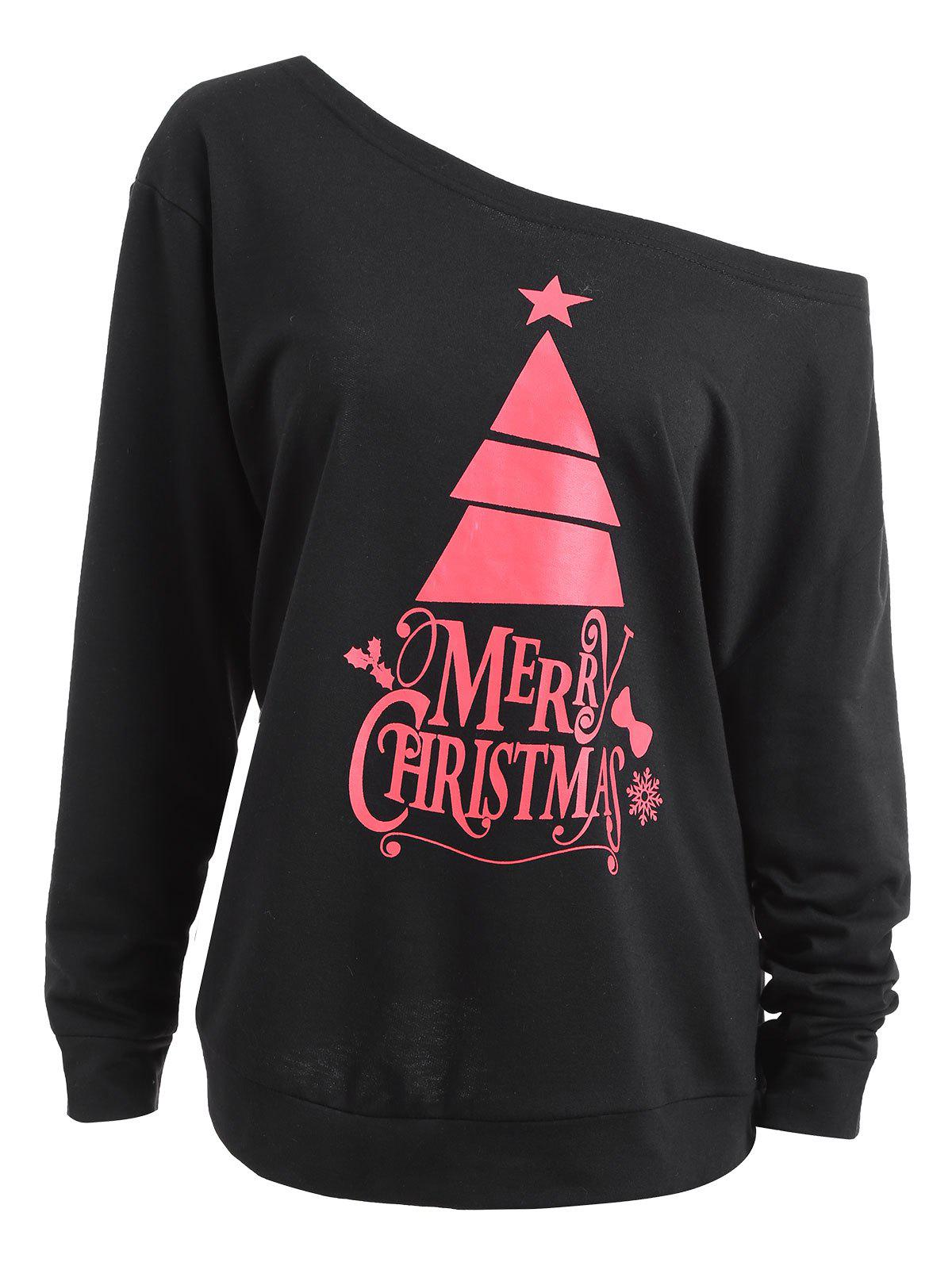 Plus Size Cute Christmas Tree Skew Neck Sweatshirt plus size christmas reindeer skew collar sweatshirt