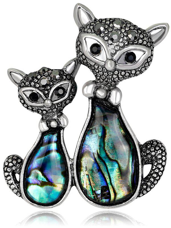 Double Kitten Shape Shell Brooch - BLACK