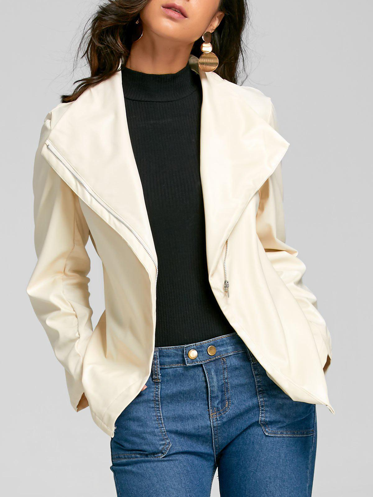 Turndown Collar Zip Up Faux Leather Jacket faux fur collar zip up pu leather jacket