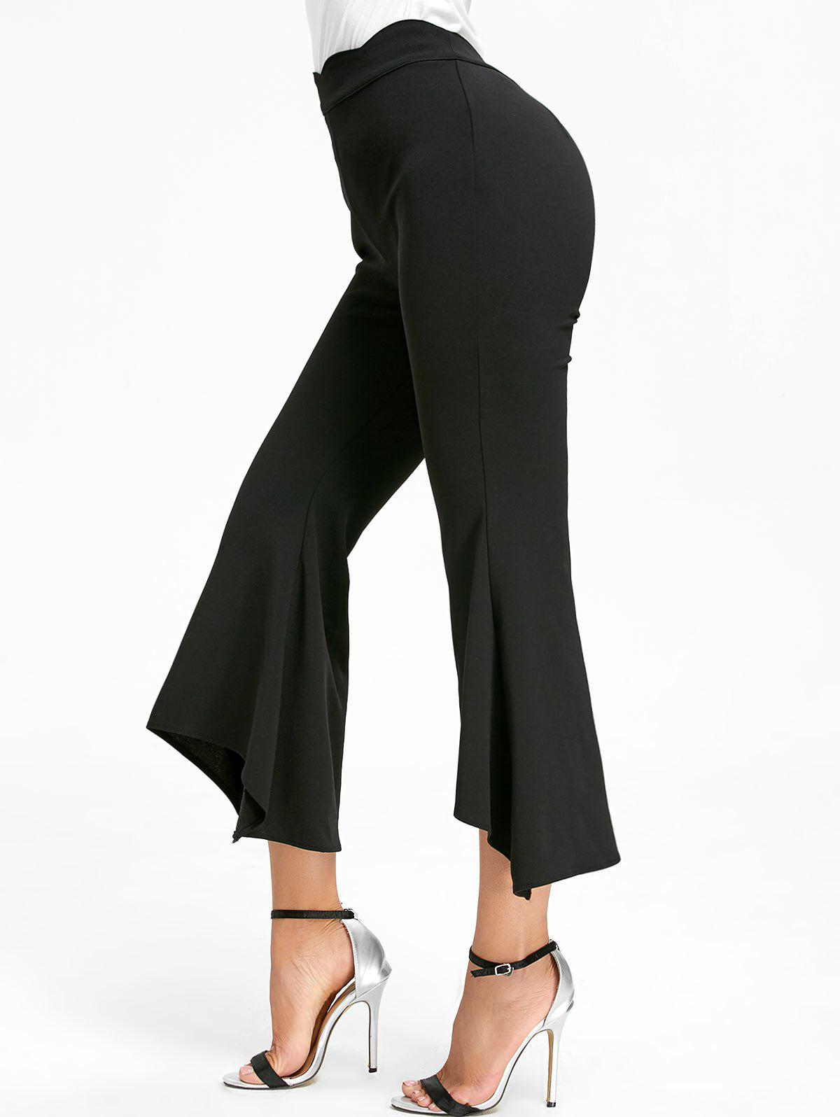 High Waist Ninth Bell Bottom Pants - BLACK S