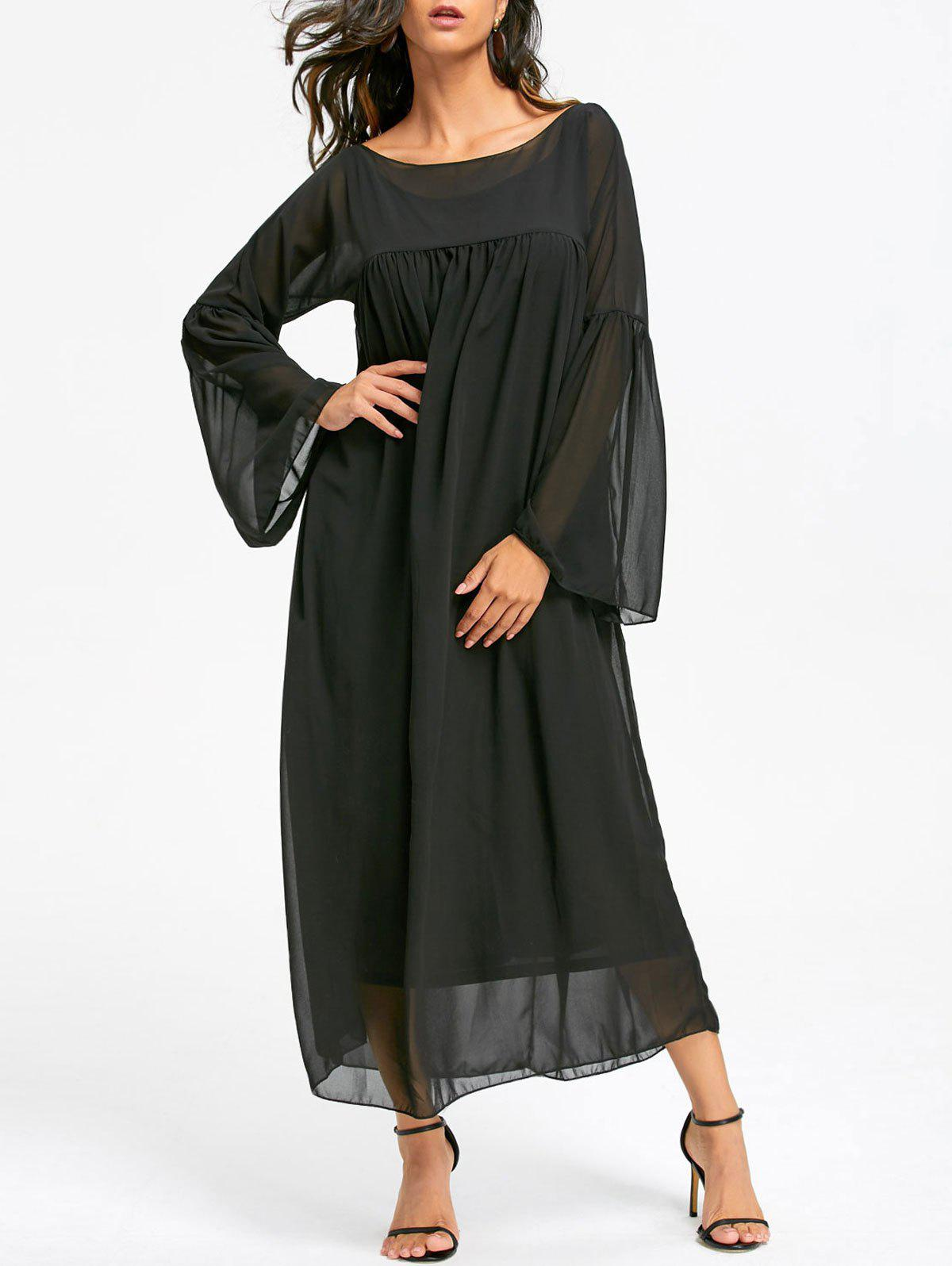 Flare Sleeve Empire Waist Floor Length Chiffon Dress - BLACK L