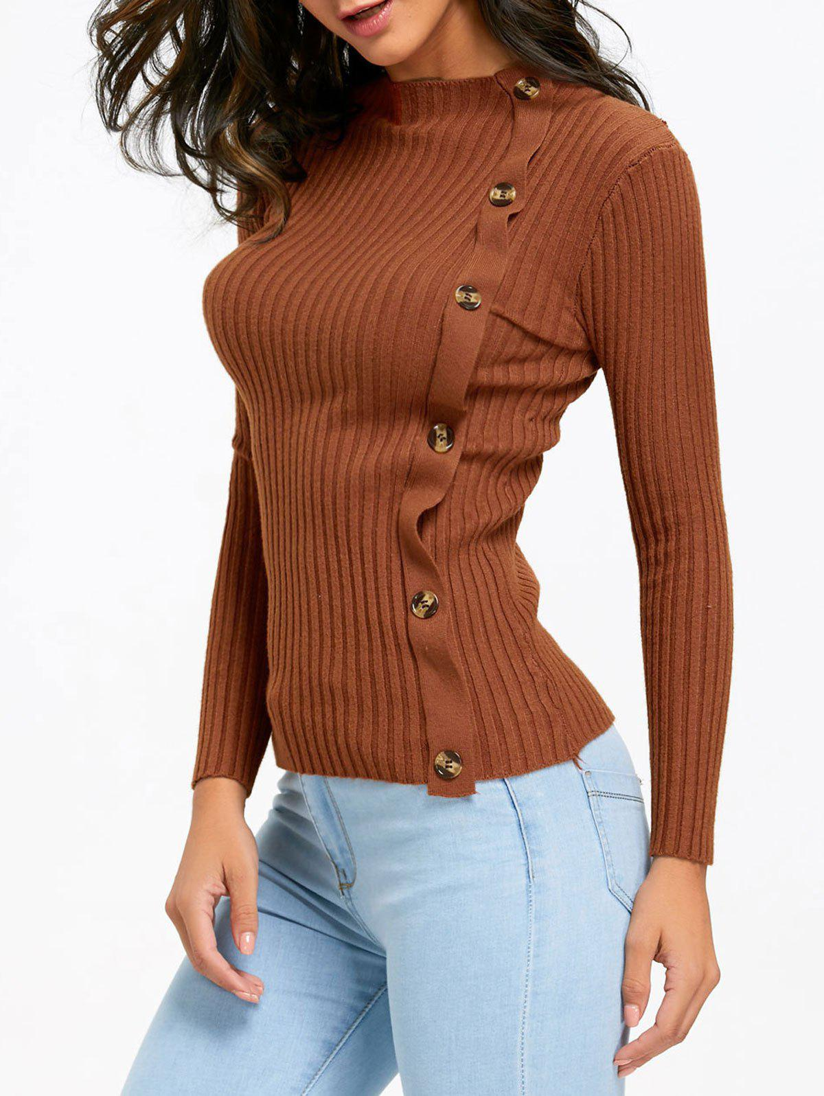 Ribbed Side Button Up Knit Sweater - KHAKI ONE SIZE