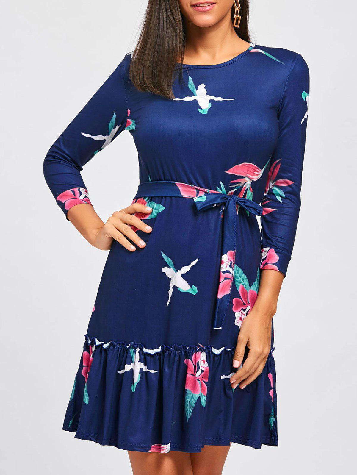 Casual Flounce Floral Dress - DEEP BLUE S