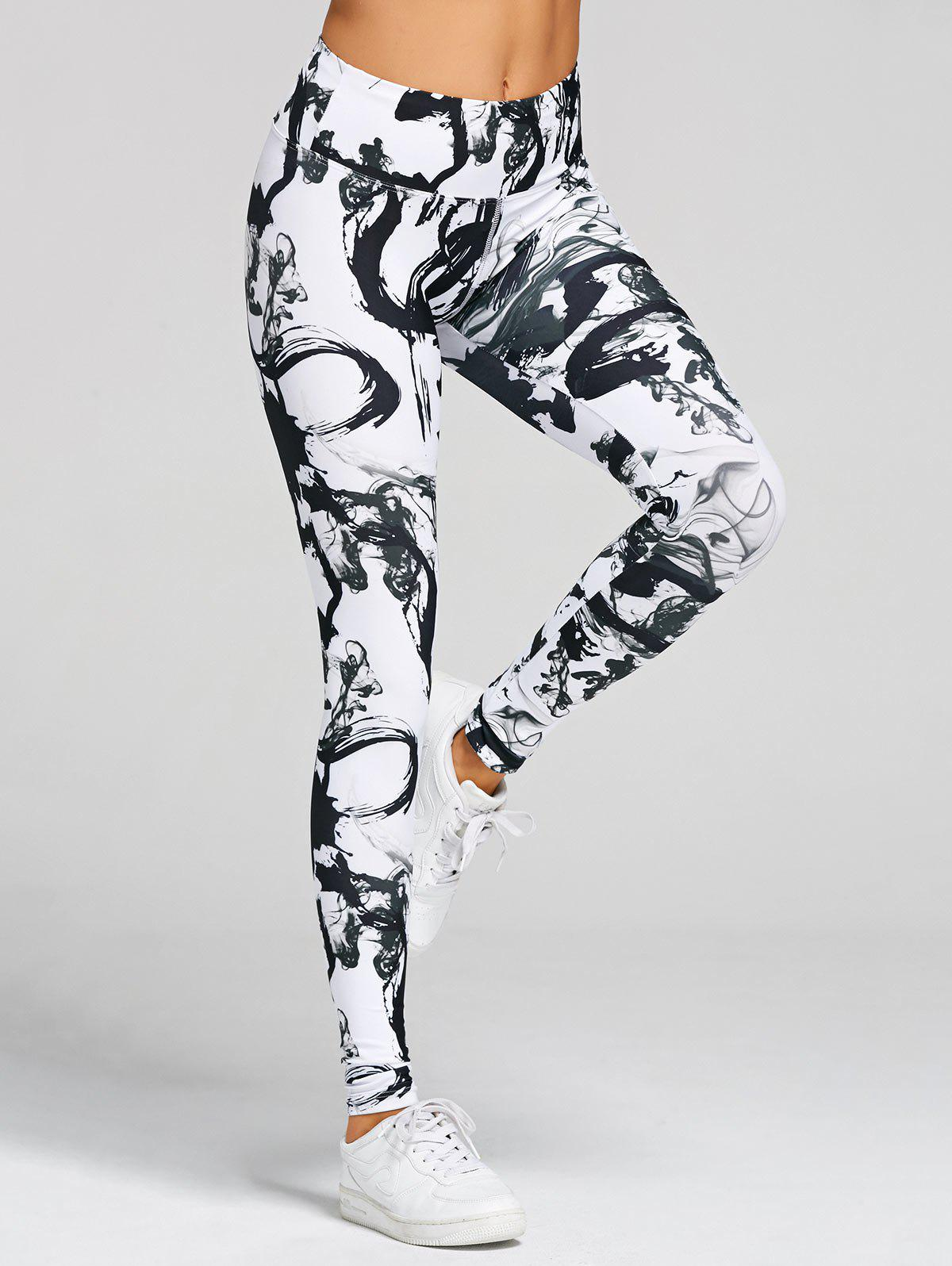 High Waisted Printed Skinny Yoga Leggings - WHITE/BLACK M