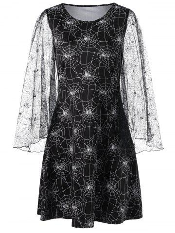 0bc4b5249b9 Halloween Lace Sleeve Spider Web Print Dress