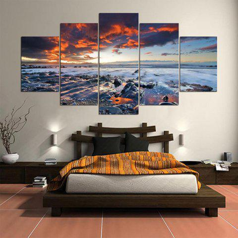 Sunset Seascape Print Split Wall Art Canvas Paintings - COLORFUL 1PC:8*20,2PCS:8*12,2PCS:8*16 INCH( NO FRAME )
