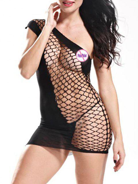 One Shoulder Fishnet Bodycon Dress - BLACK ONE SIZE