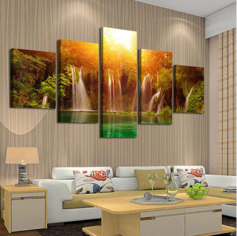 Sunset Waterfall Wall Art Split Canvas Paintings - COLORFUL 1PC:8*20,2PCS:8*12,2PCS:8*16 INCH( NO FRAME )
