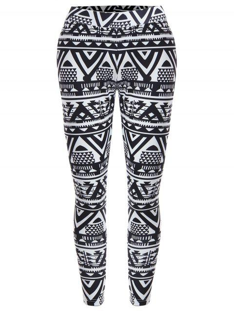 High Waisted Geometric Print Christmas Leggings - BLACK S