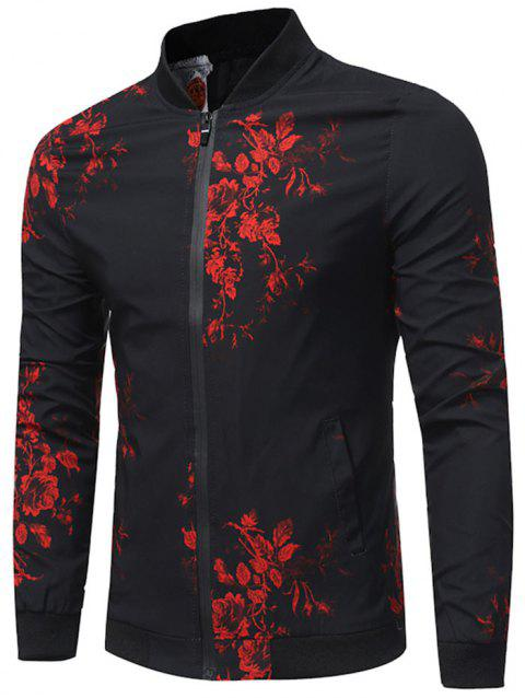 Rose Print Zip Up Casual Bomber Jacket - BLACK 3XL