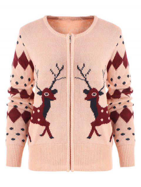 Zipper Fly Geometric Elk Print Christmas Cardigan - PINK ONE SIZE