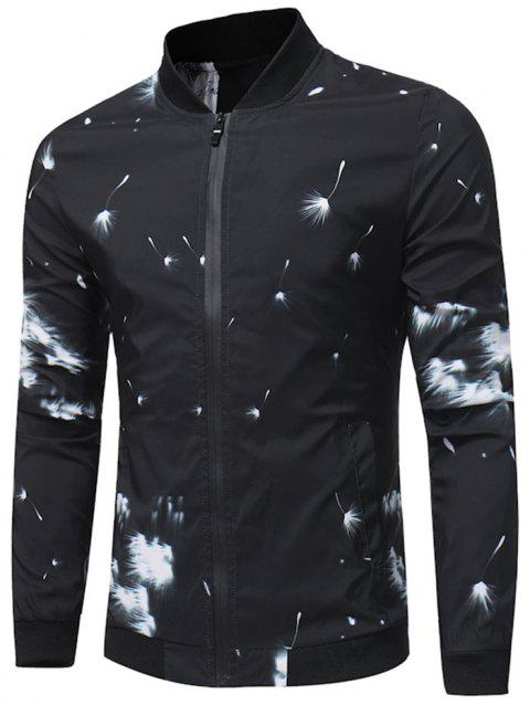 Zipper Up Dandelion Print Bomber Jacket - BLACK XL