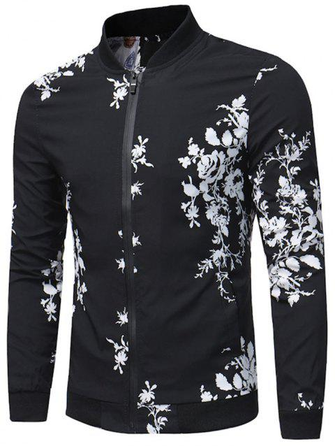 Rose Pattern Zip Up Casual Bomber Jacket - BLACK XL