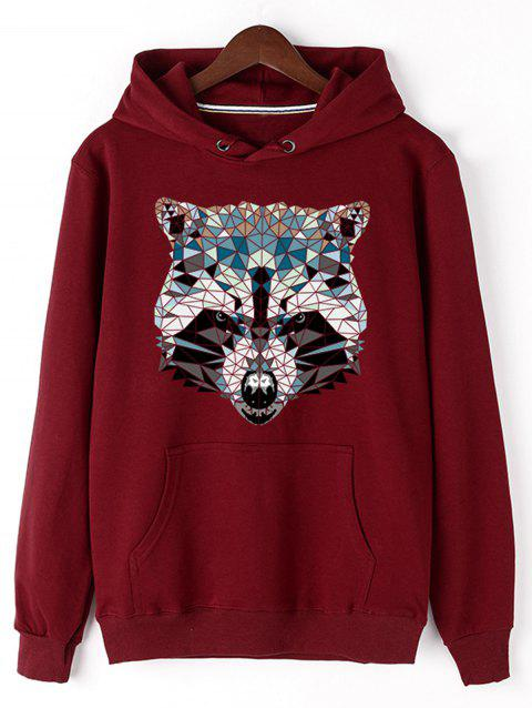 Wolf Head Print Fleece Pullover Hoodie - RED 2XL