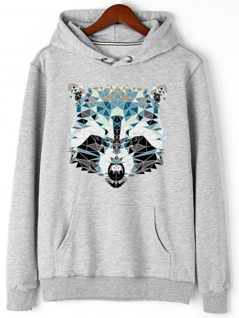 Wolf Head Print Fleece Pullover Hoodie - GRAY M