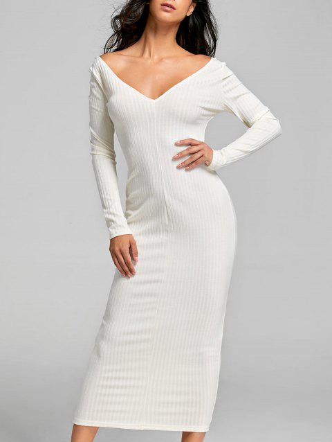 2d77c79b8d8 41% OFF  2019 Open Shoulder Ribbed Maxi Bodycon Dress In OFF WHITE ...