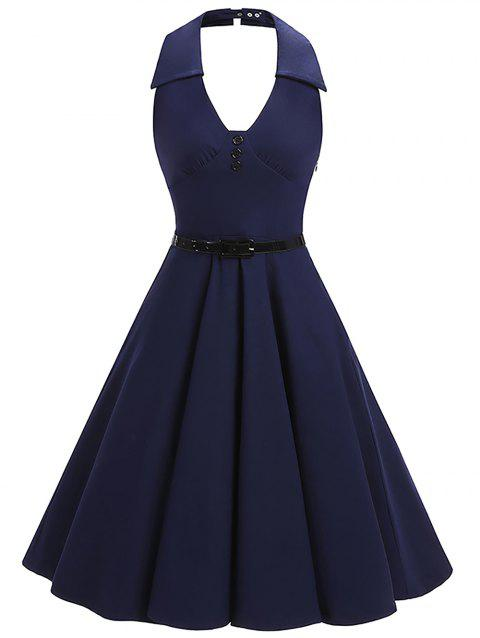 Vintage Halter Backless Pin Up Skater Dress - PURPLISH BLUE 2XL