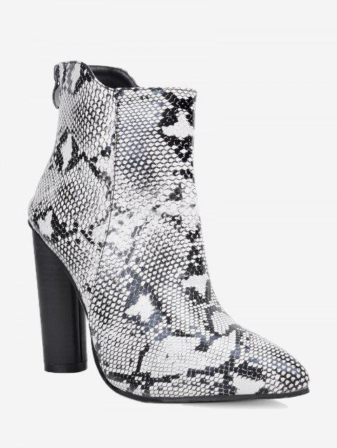 Snake Print Pointed Toe Ankle Boots - WHITE 39