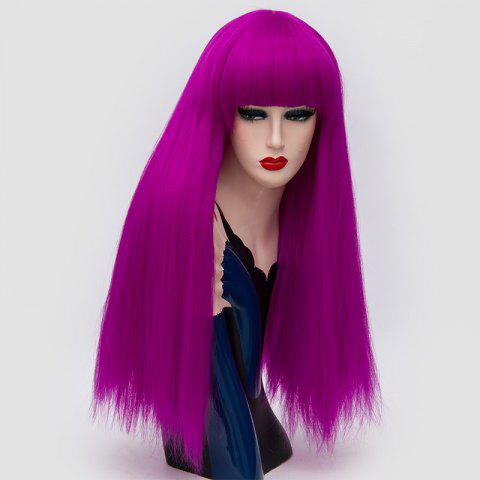 Long Neat Bang Fluffy Straight Lolita Cosplay Synthetic Wig - PURPLE