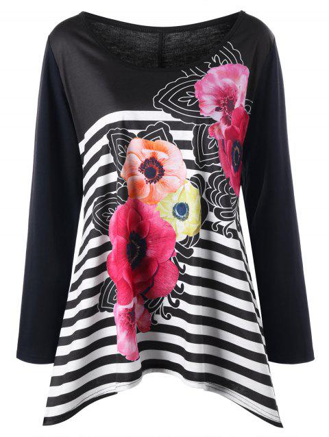 Plus Size Striped Floral Long Sleeve Tee - BLACK 4XL