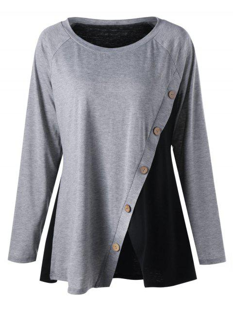 Plus Size Button Detail Two Tone Top - GRAY XL
